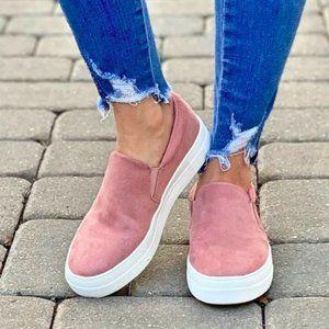 Mauve Soft micro suede slip on sneaker
